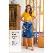Saia Jeans Longuete - Moda Evangélica Lançamento Joyaly (11743 E)