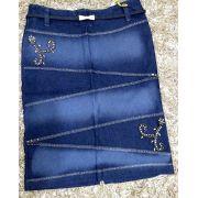Saia Jeans  Bordado Lateral - Sem Controle (3110 E)