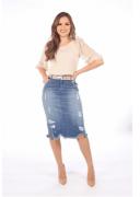 Saia Jeans Pigmento Prata - Moda Evangélica Joyaly (12003 T)
