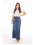 Saia Longa Jeans - Moda Evangélica Joyaly (11946 T)
