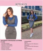 Salopete Com Blusa Listrada - Moda Evangélica Joyaly (70108 E)