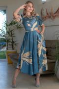 Vestido Crepe Mangas Bufante - Moda Evangélica Kauly (3156 E)
