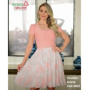 Vestido Duo Plissado - Moda Evangélica Maria Amore (3062 T)
