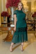 Vestido Em Crepe Poá C Elastex - Moda Evangélica Kauly (2970 E)