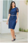 Vestido Em Lasie C Cinto - Moda Evangélica Luciana Pais (92865 T)