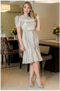 Vestido Em Linho - Moda Evangélica Lançamento Kauly (2922 E)