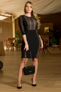 Vestido Em Montaria Recortes Renda Forrada - Kauly (2888 T)