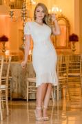 Vestido Em Renda C Recortes - Moda Evangélica Kauly (2968 E)