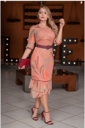 Vestido Em Tule C Cinto - Moda Evangélica Kauly (3064 E)