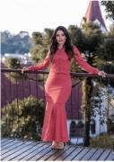 Vestido Longo Lasie C Cinto - Moda Evangélica Joyaly (30619 E)