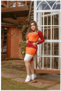 Vestido Manga Longa Bicolor - Moda Evangelica Joyaly (70103 T)