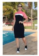 Vestido Moletinho com Recortes e Botões - Luciana Pais (92596 E)