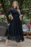 Vestido Renda Folhas C Cinto Laço - Moda Evangélica Kauly (3148 E)