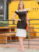 Vestido Tubo Bicolor - Moda Evangélica Joyaly (30858 T)