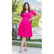 Vestido Twill Plissado - Moda Evangélica Luciana Pais (92851 E)