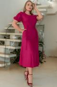 Vestido Viscolinho Amarração Frontal - Moda Evangélica Kauly (3166 T)