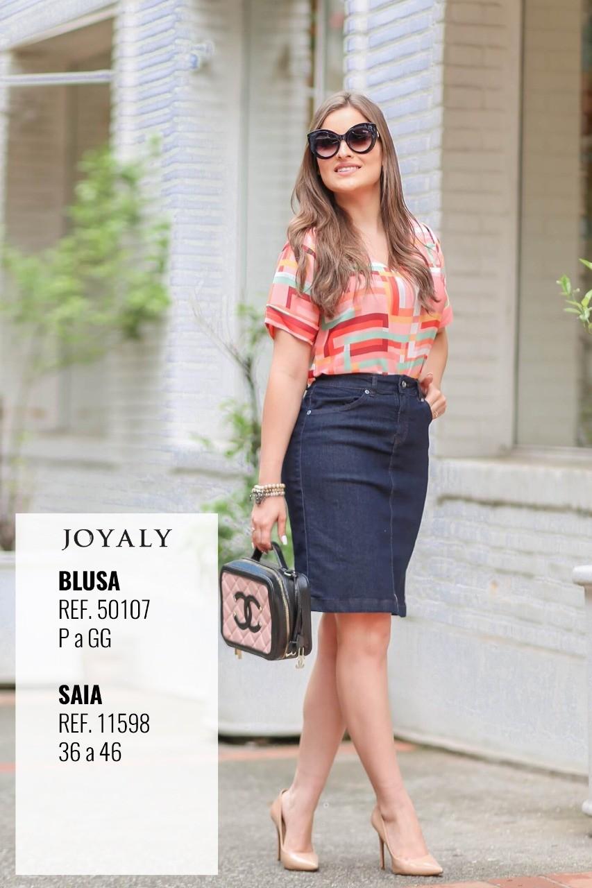Blusa Em Crepe Estampada - Moda Evangélica Joyaly (50107 T)