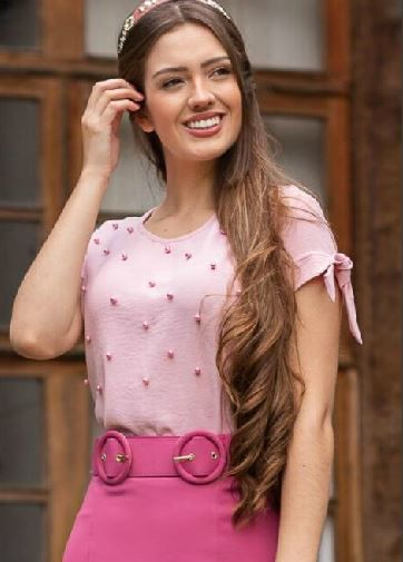 Blusa Em Perolas Moda Evangélica - Maria Amore (2851 E)