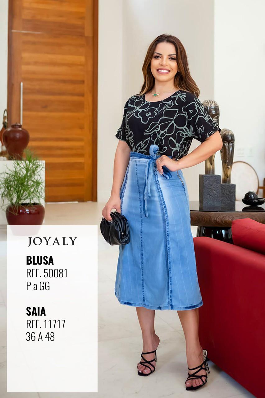 Blusa Em Viscose Tropical - Moda Evangélica Joyaly (50081 T)