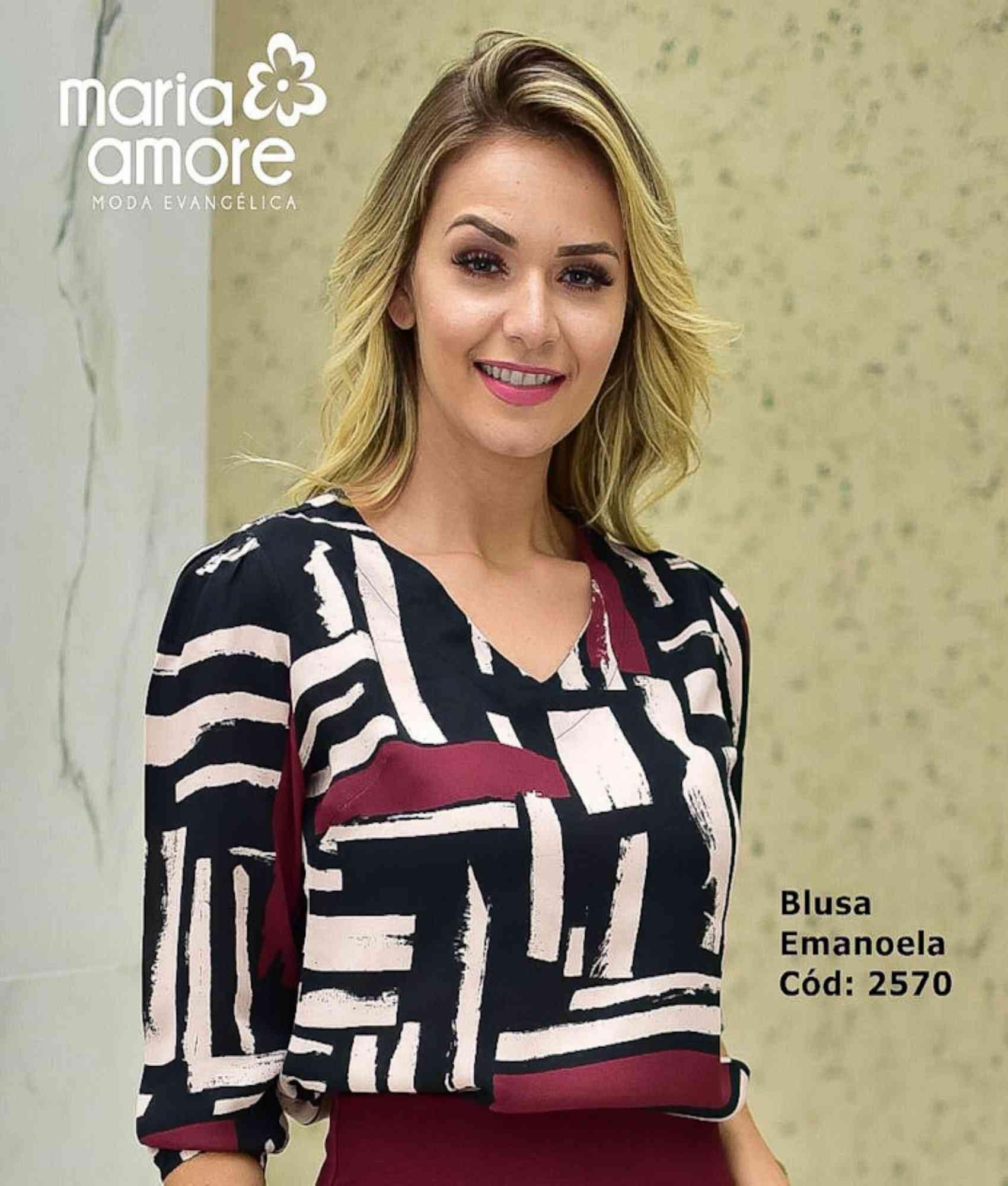 Blusa estampada manga 3/4 c/ elástico - Maria Amore.
