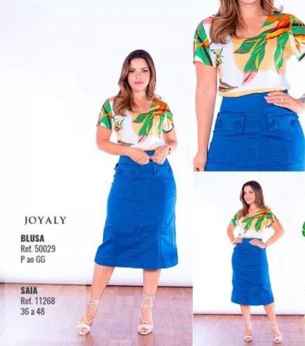 Blusa Folha Moda Evangélica Lançamento Joyaly (50029)