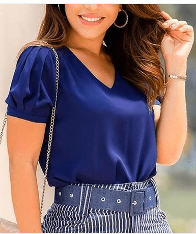 Blusa Gola V - Moda Evangélica Lançamento Joyaly (50057 E)