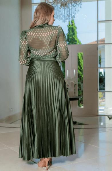 Camisa Chiffon Detalhes Cetim - Moda Evangélica Kauly (3105 E)