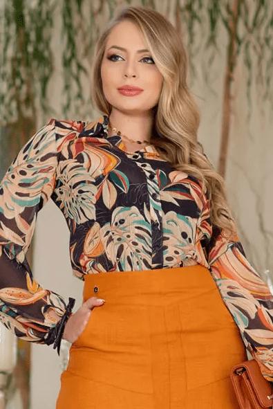 Camisa Em Chiffon - Moda Evangélica Kauly (3115 E)