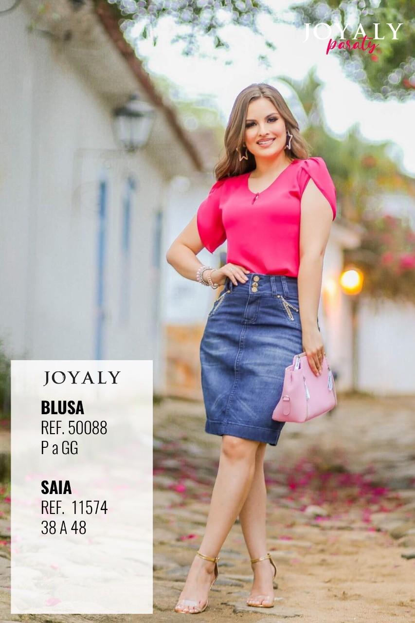 Blusa Em Crepe - Moda Evangélica Lançamento Joyaly (50088 T)