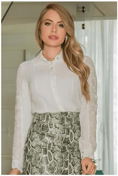 Camisa Em Crepe - Moda Evangélica Lançamento Kauly (2934 E)