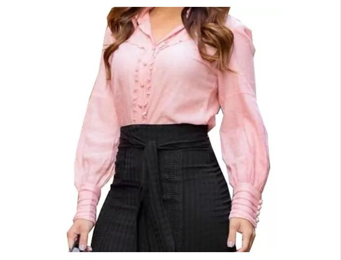 Camisa Em Crepe - Moda Evangélica Lançto Kayly (2749 E)