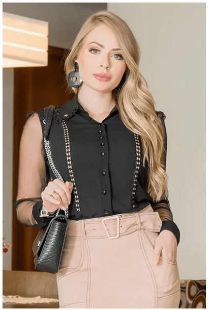 Camisa Em Viscose - Moda Evangélica Kauly (2923 T)