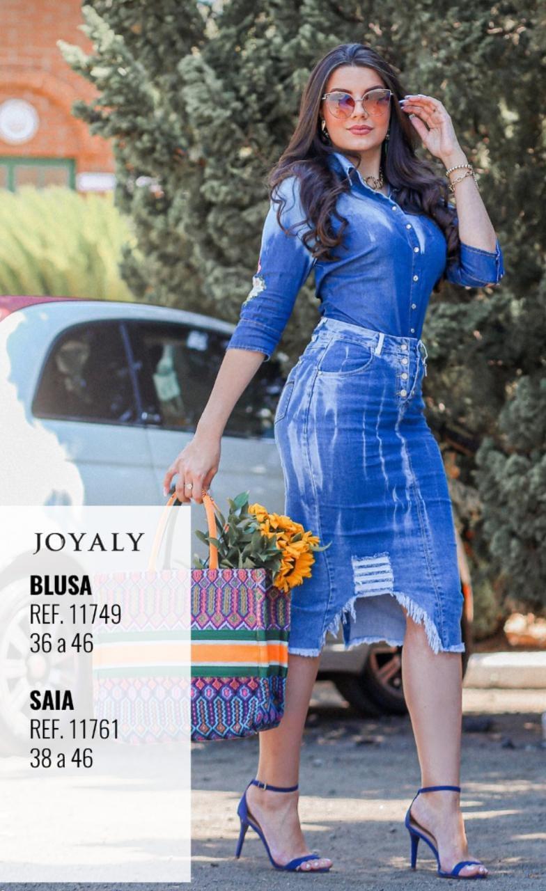 Camisa Jeans Bordada - Moda Evangélica Joyaly (11749 T)