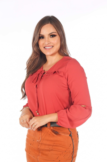 Camisa Poliéster Babado - Moda Evangélica Joyaly (50151 T)