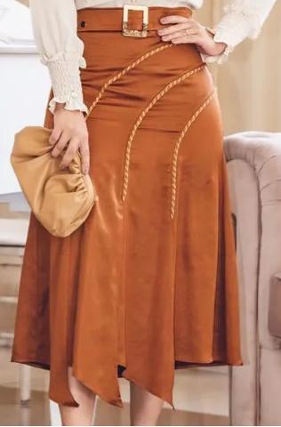Conj Camisa Seda+Saia Alfaiataria - Lançto Kauly (2813-2814 E)