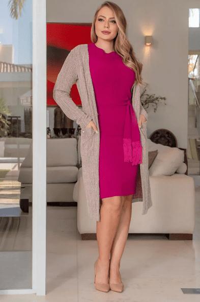 Cardigan Em Tweed C Bolsos - Moda Evangélica Kauly (3114 E)