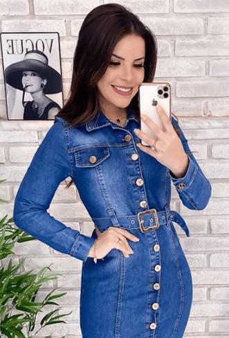 Chemisier Jeans Com Cinto - Lançamento Joyaly (11633 T)