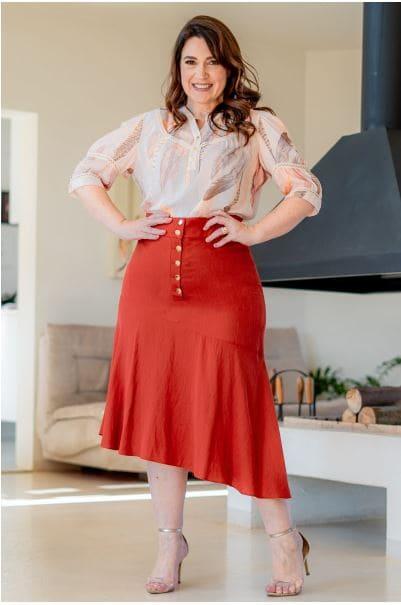 Cj Camisa + Saia Longa Plus Size - Moda Evangélica Kauly (3179-3180 T)