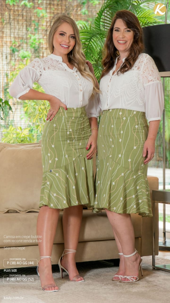 Cj Camisa+Saia Plus Size - Moda Evangélica Kauly (2957-2958 T)