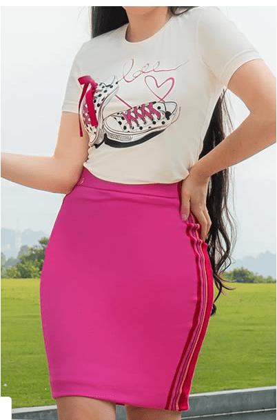Cj T-Shirt+Saia Malha - Moda Evangélica Luciana Pais  (92995-92996 T)