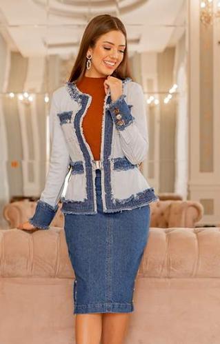 Conj Blazer + Saia Jeans - Lançamento Raje (18485 E)