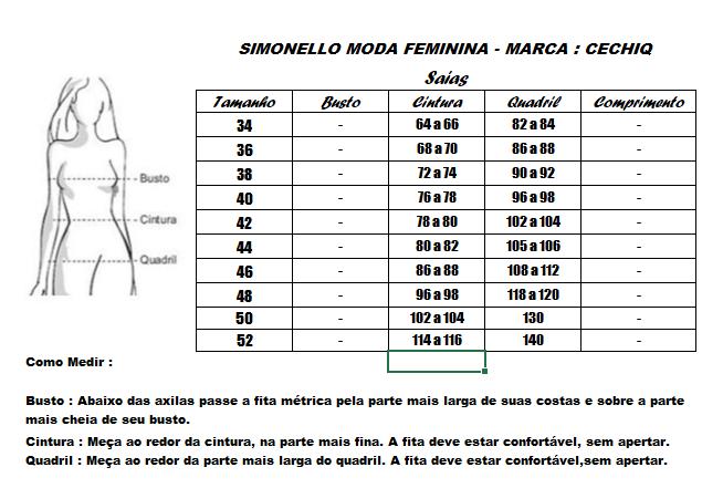 Conj Blusa + Saia - Moda Evangélica Cechiq (5036-5076 E)