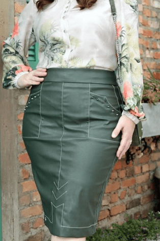 Conj Camisa + Saia Em Couro Plus Size - Kauly (2838-2839 E)