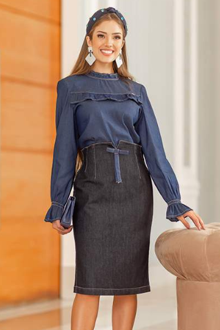 Conj Camisa + Saia Jeans - Lançamento Raje (18560 T)