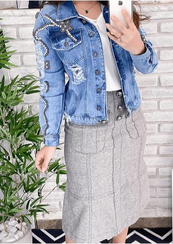 Jaqueta Jeans Bordada - Lançamento Joyaly (11594 E)