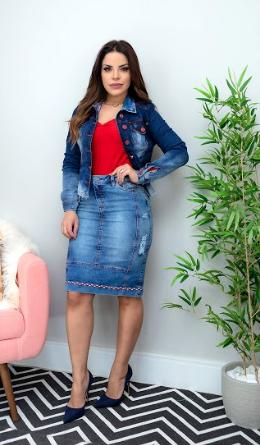 Jaqueta Jeans Com Det. Botões - Lançamento Joyaly (11702 E)