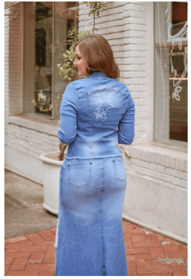 Jaqueta Jeans Manga Longa - Moda Evangélica Joyaly (12055 E)