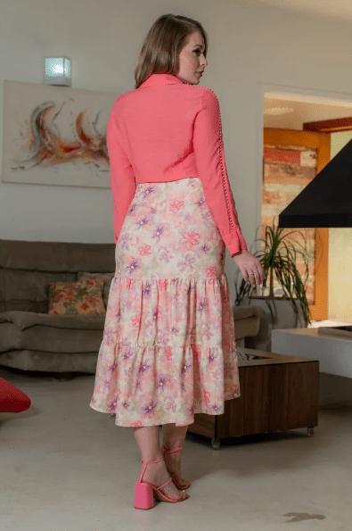 Saia Crepe Estampado - Moda Evangélica Kauly (3152 T)