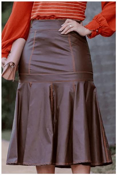 Saia Em Couro C Zíper Metal - Moda Evangelica Kauly (2828 E)