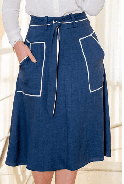 Saia Em Linho Detalhes de Vivos - Moda Evangélica Kauly (3118 E)